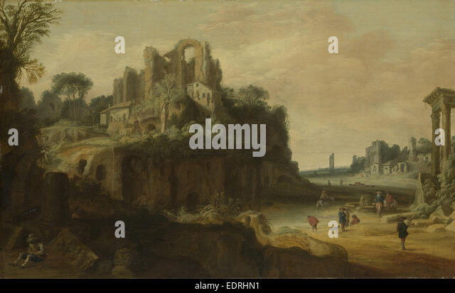 Roman Landscape with the Palatine to the left and part of the Roman Forum on the right, Pieter Anthonisz Groenewegen - Stock Image