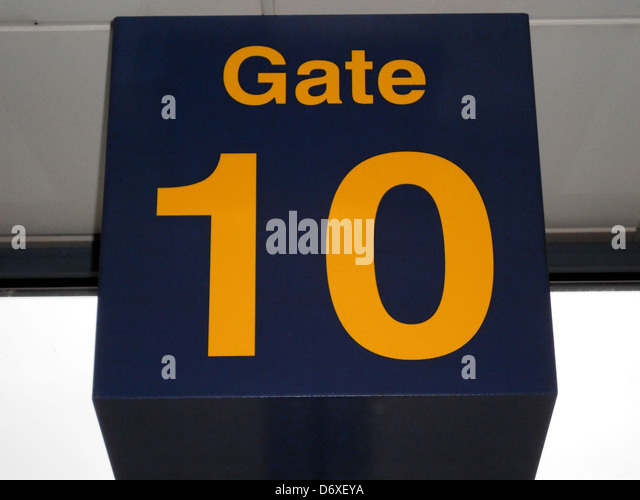 Gate number 10 in the departure lounge, East Midlands Airport, Castle Donnington, Leicestershire, England, UK, Western - Stock Image
