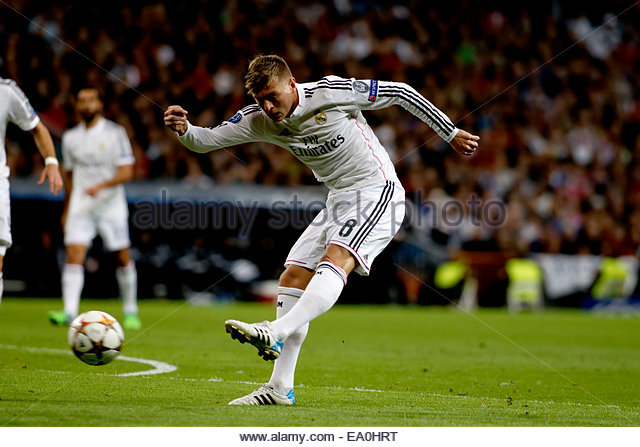 Madrid, Spain. 4th November, 2014. Real Madrid's German midfielder Toni Kroos during the Champions League 2014/15 - Stock Image