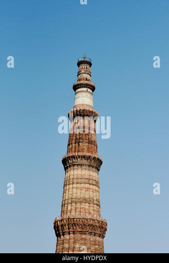 Qutub Minar, New Delhi. Qutub Minar is minaret built during 1193-1386 and is a UNESCO World Heritage Site. - Stock Image