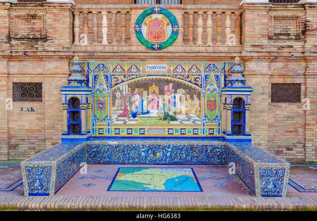 Glazed tiles bench of spanish province of Pamplona at Plaza de Espana, Seville, Spain - Stock Image