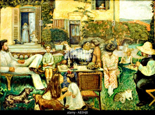 Pierre Bonnard  L` apres midi bourgeoise La Famille Terasse - Stock Image