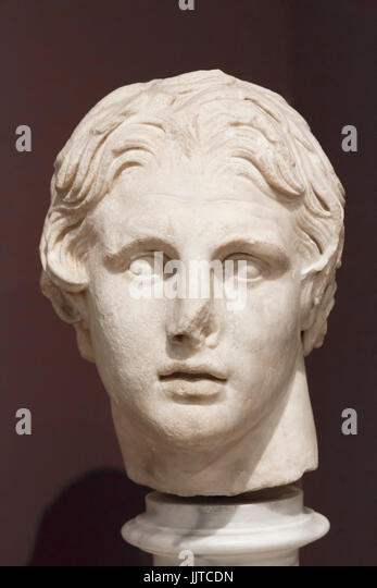 Istanbul, Turkey.  Archaeological Museum.  Marble head of Alexander the Great, 356 - 323 BC,  dating from the first - Stock Image