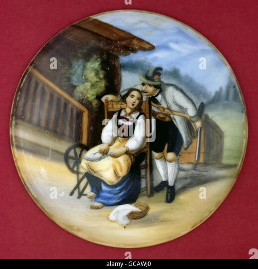 fine arts, painting, painted beer jug lid, transfer lithography, rural couple, Germany, 2nd half 19th century, - Stock Image