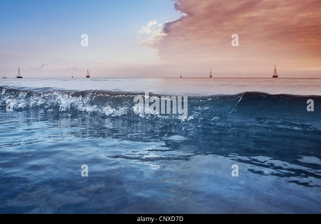 Distant sailboats on the Baltic Sea, Germany - Stock Image