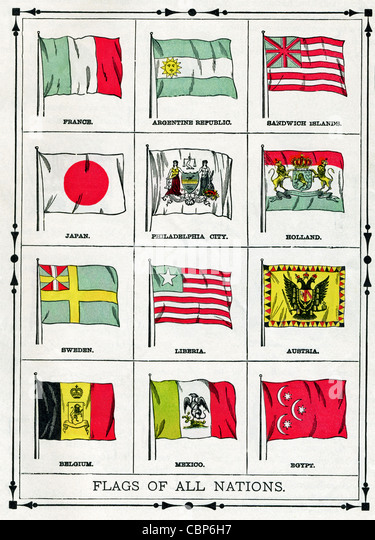 The flags shown in this illustration were current in 1896. They include France, Argentine Republic, Sandwich Islands, - Stock-Bilder