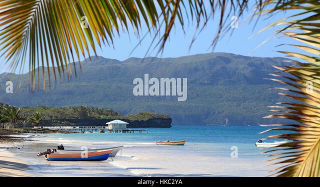 Tropical Beach in Las Galeras, Dominican Republic - Stock Image