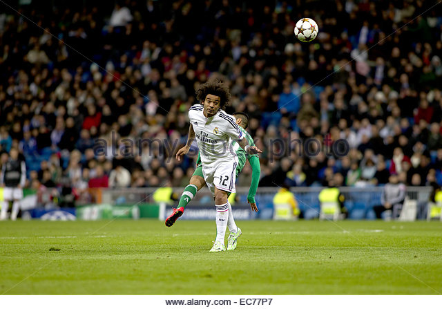 SPAIN, Madrid: Real Madrid's Brazilian Defender Marcelo during the Champions League 2014/15 match between Real - Stock Image