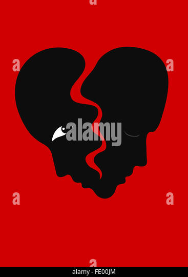 Two faces as a heart about to break. Illustration of a separation. - Stock Image