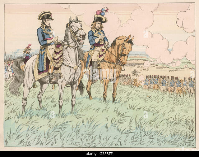 At the battle of Marengo,  Desaix thinks it's too late  for victory, but Napoleon  reassures him that they have - Stock Image