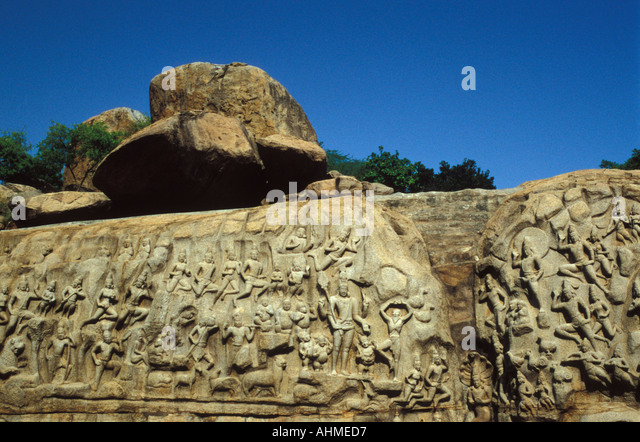 India Tamil Nadu Mamallapuram Rock Carving Arjuna s Penance - Stock Image