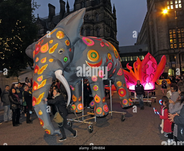 Elephant in the Dashehra Diwali Mela night parade, Manchester City Centre, NW England, UK 12/10/2013 - Stock Image