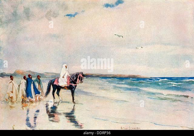 Sultan Mulai Abd-ul-Aziz on the west shore of Morocco, circa 1900. - Stock Image