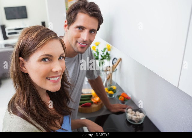 Couple cooking - Stock Image