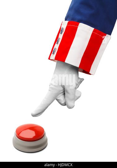 President About to Push Red Button Isolated on White. - Stock Image