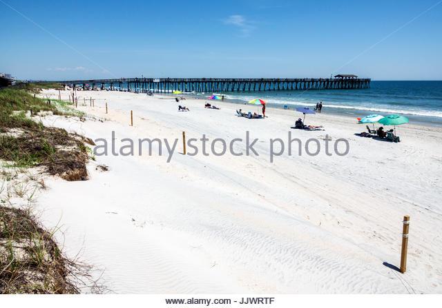 South Carolina SC Myrtle Beach Atlantic Ocean Myrtle Beach State Park sand fishing pier dune - Stock Image