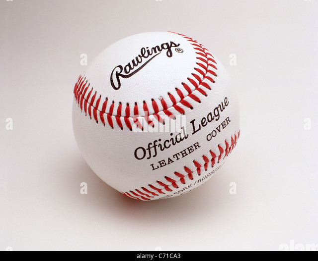Official League, leather cover, Rawlings baseball, United States of America - Stock Image