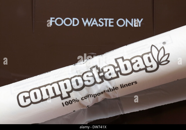 food waste only bin with compost-a-bag 100% compostable liners - Stock Image