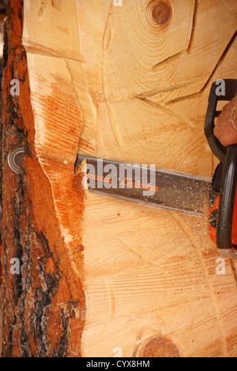 Chain saw sculpture stock photos