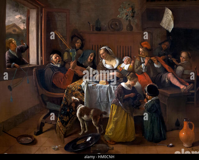 The Merry Family, by Jan Steen, 1668, oil on canvas, Rijksmuseum, Amsterdam, Netherlands, Europe, - Stock Image