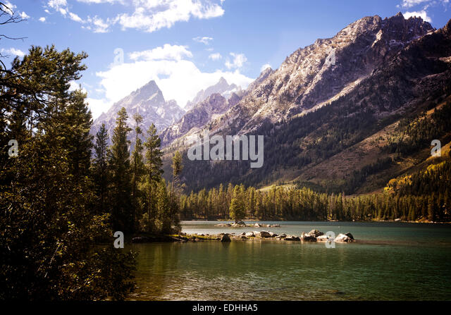 Leigh Lake in Grand Teton National Park. Wyoming. - Stock Image
