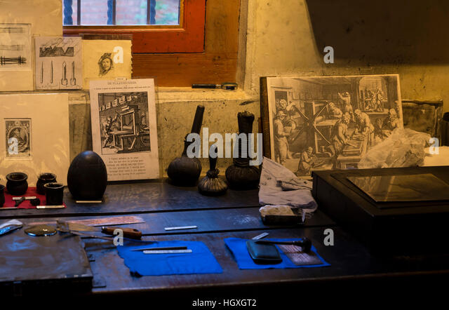 Etchings workshop, 17th century, Rembrandt House Museum,  Rembrandthuis,  Amsterdam, Netherlands. - Stock Image