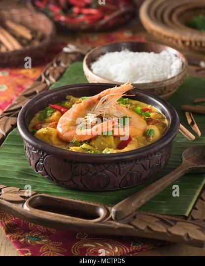 Sri Lankan prawn curry. Sri Lanka Food - Stock Image