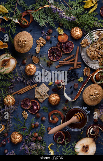 Freshly baked pastry with ingredients on a blue wooden table. Oriental mood. Top view, copy space. - Stock Image