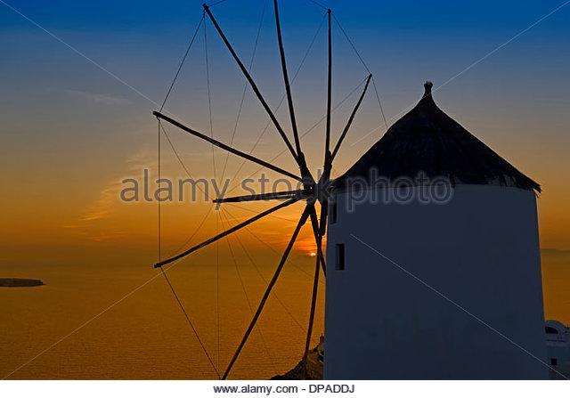 Windmill, Oia, Santorini, Greece - Stock Image