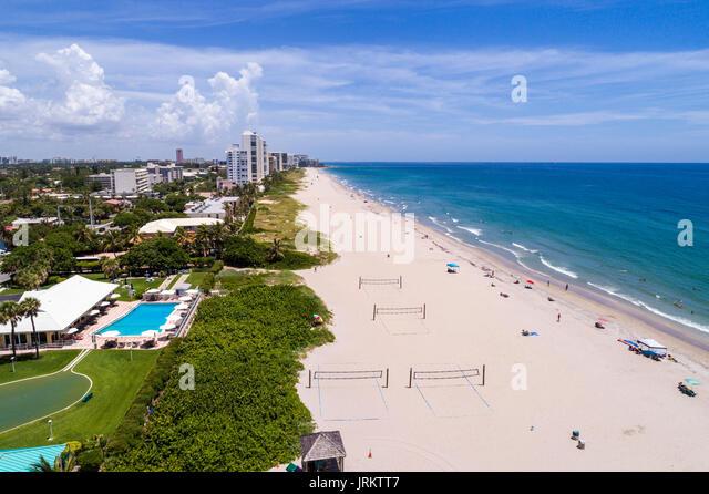 Florida Deerfield Beach Atlantic Ocean sand aerial overhead view bird's eye above - Stock Image
