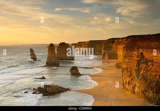 the eroded coastline of the Twelve Apostles, Port Campbell National Park, Great Ocean Road, Victoria, Australia - Stock Image