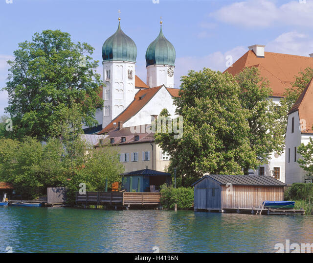 Germany, Upper Bavaria, Chiemgau, Seeon, cloister, church, Europe, South Germany, Bavaria, cloister lake, lake, - Stock Image