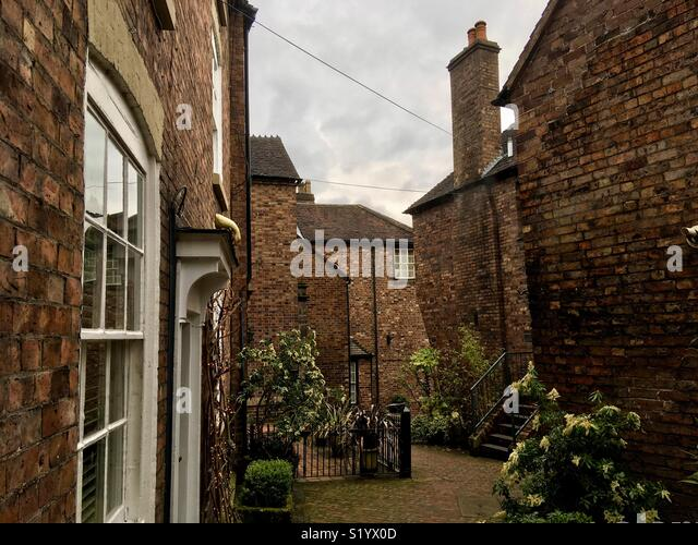 Workers cottages in the back streets of Ironbridge, Shropshire, England - Stock Image