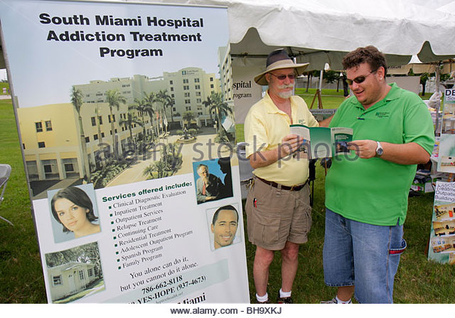 Miami Florida Bicentennial Park South Florida Rally for Recovery festival addiction substance abuse poster clinical - Stock Image