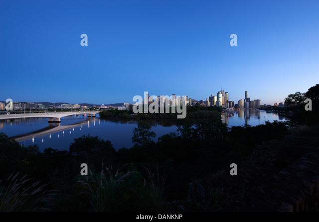 Brisbane central business district nestled behind the Botanical Gardens - Stock Image