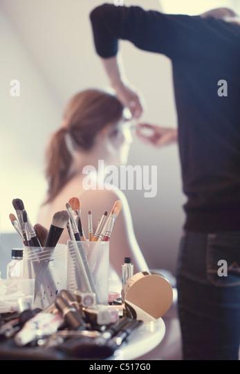 Make-up and make-up brushes - Stock Image