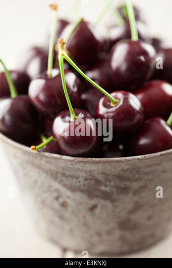 English Cherries in Metal Bowl - Stock Image