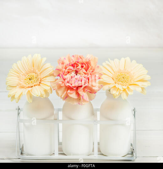 gerberas and carnation arranged in three milk bottles - Stock Image