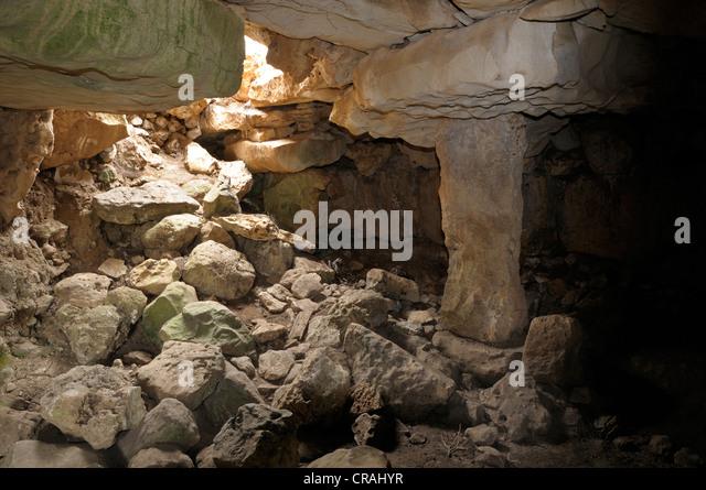 Columned hall, prehistoric site of Torralba d'en Salort, Menorca, Balearic Islands, Spain, Europe - Stock Image