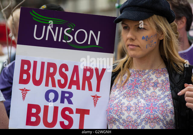 London, UK. 4 June 2016. Student nurses march in London to defend the NHS bursary.Davd Rowe/Alamy Live news. - Stock Image