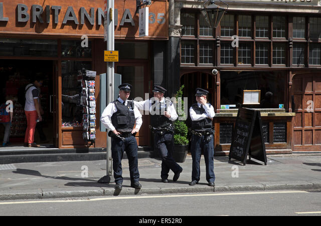 London, UK. 27th May, 2015. Police officers in Whitehall in London. Credit:  Keith Larby/Alamy Live News - Stock Image