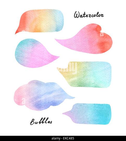 Watercolor colorful speech bubbles - Stock-Bilder