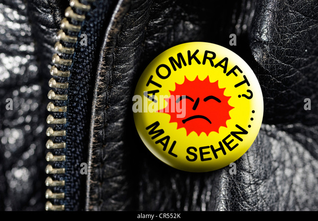 Leather jacket with a badge, Atomkraft? Mal sehenOe, German for Nuclear Power? - Let's see ... - Stock Image