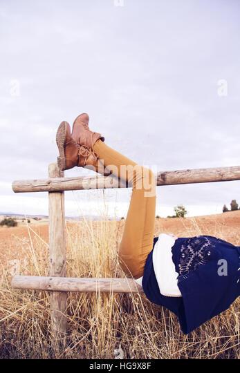 Young woman enjoying autumn - Stock Image
