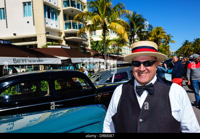 Miami Beach Florida Ocean Drive Art Deco Weekend festival street fair event antique classic car automobile show - Stock Image