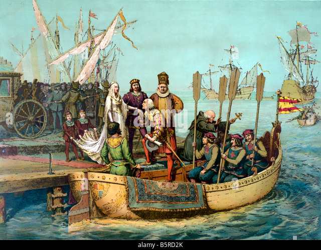 Columbus departing on a voyage to the new world - Stock-Bilder