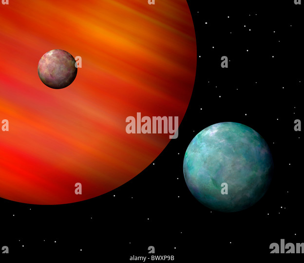 Moons orbiting a reddish gas giant Horizontal - Stock Image