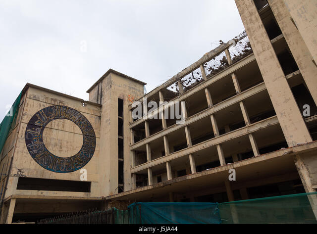 Building destoyed by the war in Mar Mikhael, Beirut Governorate, Beirut, Lebanon - Stock-Bilder