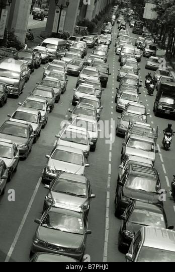Traffic congestion Pathumwan district in central Bangkok Thailand - Stock Image