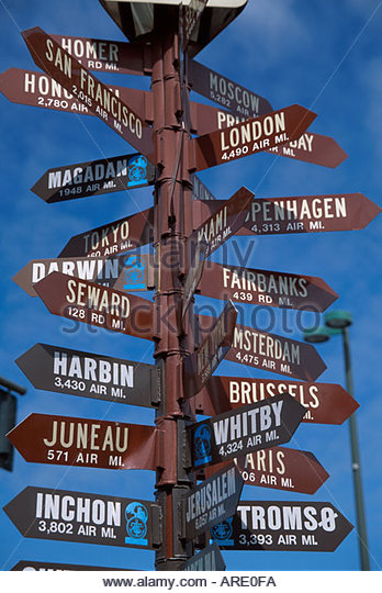 Alaska Anchorage directional signs world cities - Stock Image